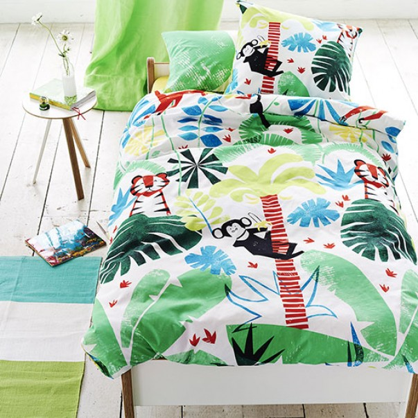 Drap Housse JUNGLE PLAYTIME LEAF en coton - DESIGNERS GUILD KIDS