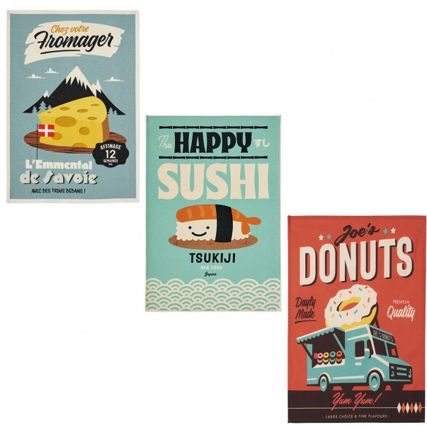 Box of 3 tea towels MISTERATOMIC - Fromage de Savoie + Sushis + Donuts - COUCKE