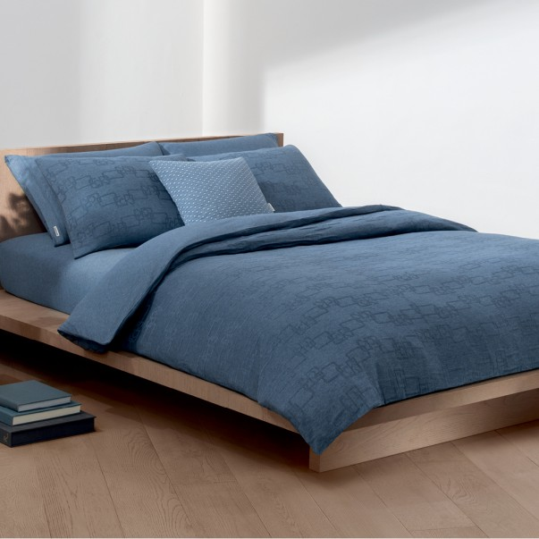 Bed set in heather blue jersey LINK DUSK by Calvin Klein