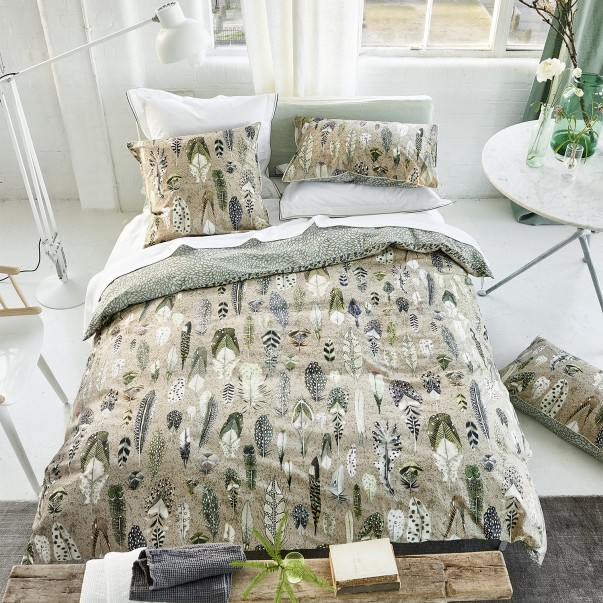 Percale cotton duvet set QUILL NATURAL - DESIGNERS GUILD