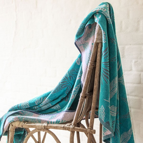 BALI Turquoise Jacquard cotton beach towel