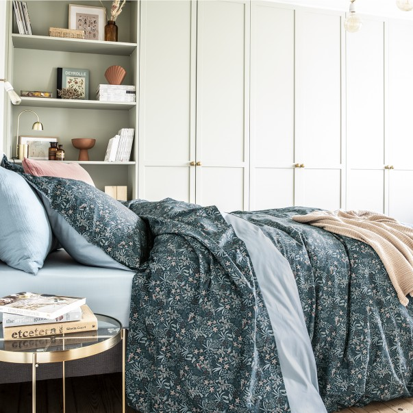 Bed linen set Ode Nocturne printed in cotton percale OEKO-TEX® certified