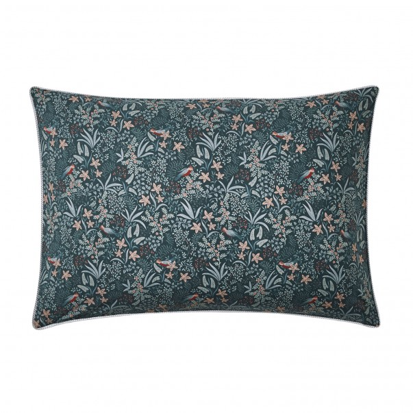 Cushion cover in cotton percale Ode Nocturne, zip closure